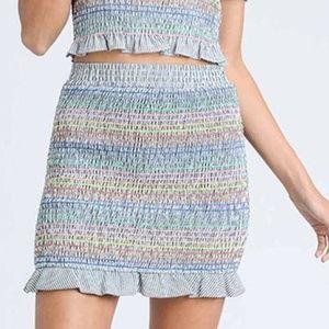 NWOT Colorful Smocked Skirt